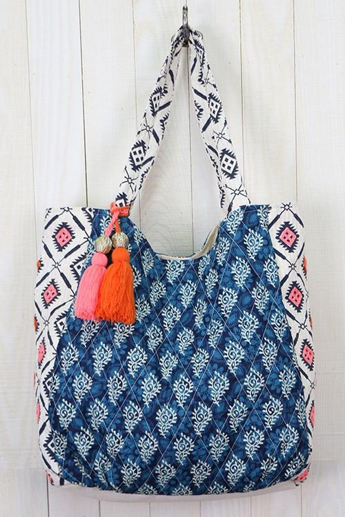 Bali Blue Quilted Artisan Tote with Tassel Accent
