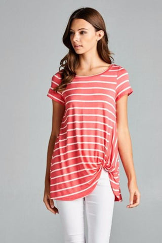 Embellish Coral Stripes Front Knotted Top