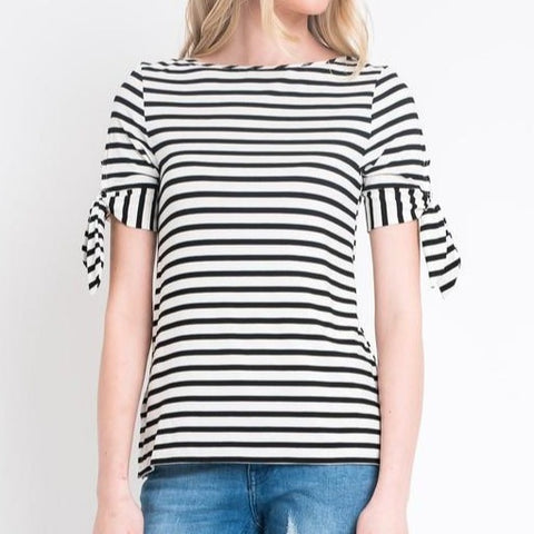 Embellish Jackie Striped Top with Tie Sleeve