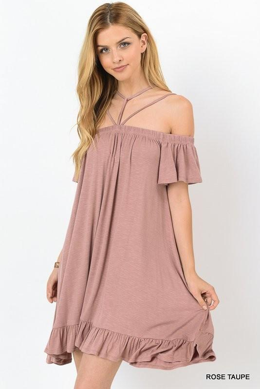 Embellish Rose Taupe Strappy Ruffle Dress