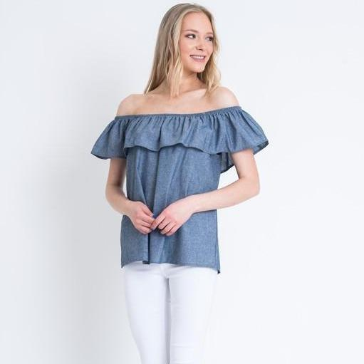 Embellish Dina Chambray Denim Shoulder Baring Top with Flounce Neck