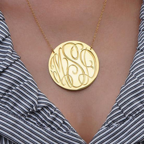 Hand-Engraved Disk Necklace with Script Monogram in Sterling Silver or 24K Gold Plated