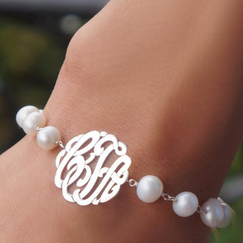 Freshwater Pearl Monogram Bracelet in 24K Gold plated or Sterling Silver!