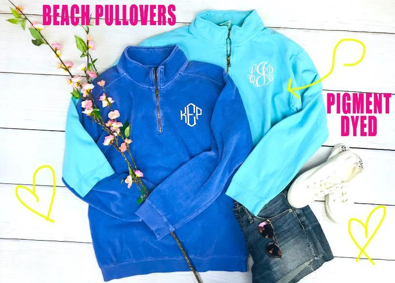 Embellish Pigment Dyed Beach 1/4 Zip Pullover | Personalized