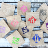 Monogram Burlap Decorative Container