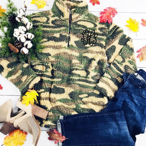 Embellish Soft Sherpa Camo 1/4 Zip Pullover | Monogrammed