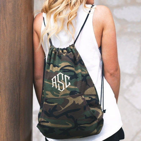 Embellish Sporty Sweatshirt Cinch Back Pack | Monogrammed