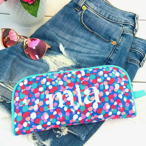 Embellish Confetti Carry All Zipper Accessory Bag | Monogrammed | QUICK SHIP