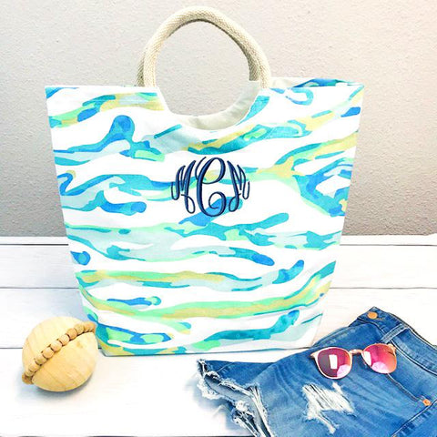 Embellish Oversized Canvas Coral Shore Tote- Ocean Blues | Monogrammed
