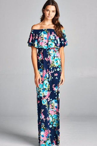 Embellish Monaco Floral Shoulder Ruffle Maxi Dress
