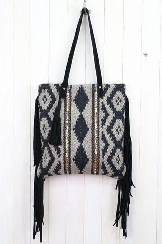 Diamond Artisan Tapestry Fringe Bag with Metallic Beading Details