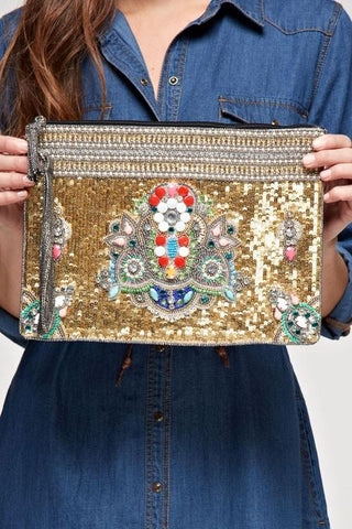 Gold Jewels Beaded Artisan Tassel Envelope Clutch