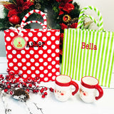 Embellish Canvas Cheerful Holiday Tote Goody Bag | Personalized