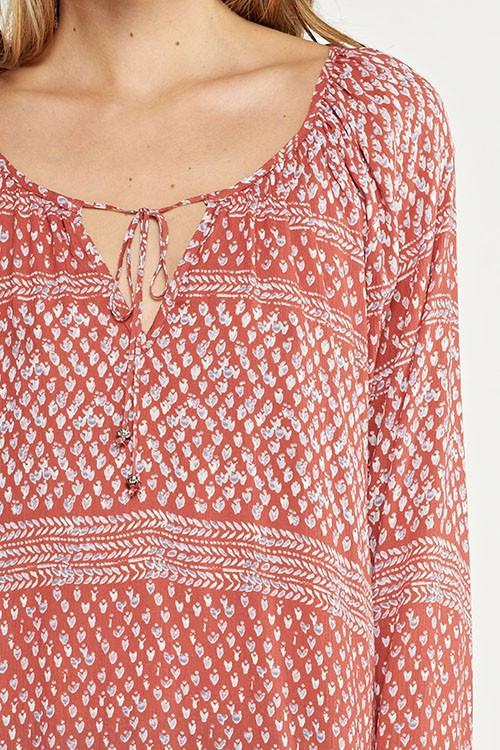 Embellish Tina Brick Red Tunic Tie Top in Detailed Print
