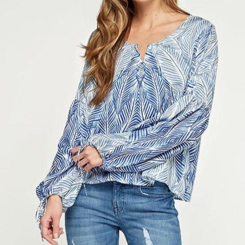 Embellish Perfect Palms Balloon Sleeve Tunic Top