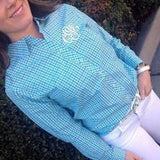 Classic Ladies Monogrammed Gingham Oxford in Four Colors