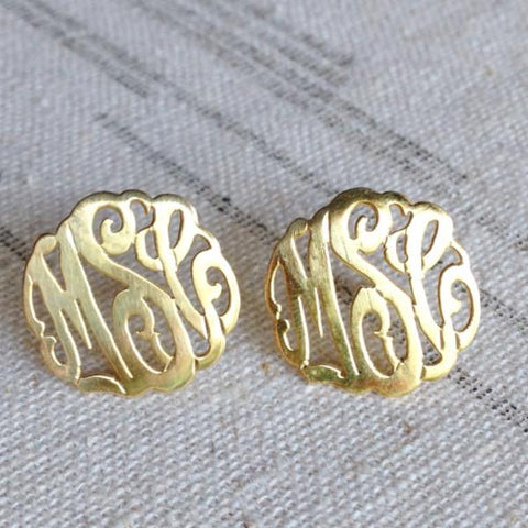 Monogrammed Earring, Hand Cut in Gold Plated, Sterling Silver or Rose Gold