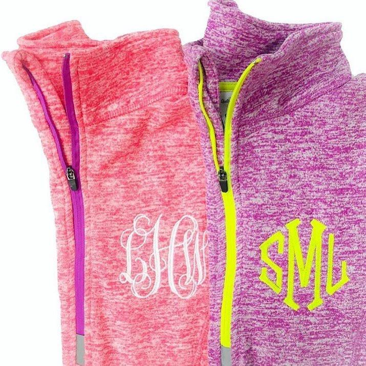 Heather Contrast Half-Zip Pullover | Personalized