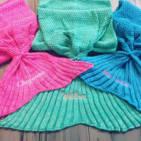 Embellish Custom Knit Mermaid Tail Blankets