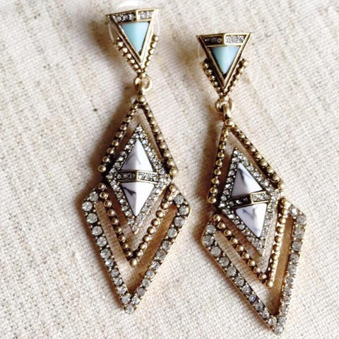 Triangle Drop Geometric Faux Stone & Crystal Earring