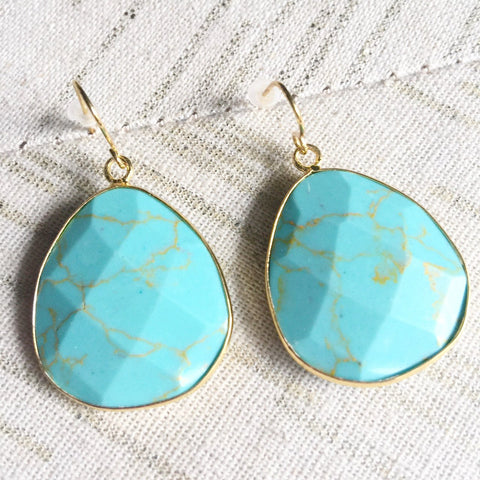 Semi-Precious Stone Turquoise Drop Earrings