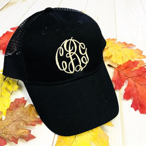 Embellish Monogram Mesh Trucker Caps | Six colors