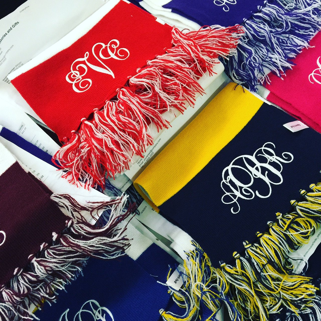 Personalized Striped Fringe Scarf | Monogrammed | QUICK SHIP
