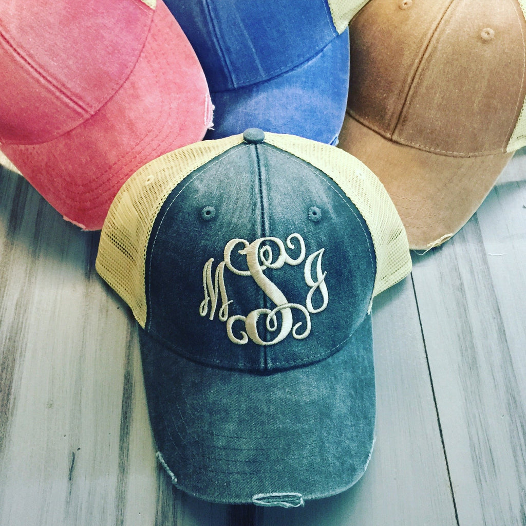 Distressed Monogram Trucker Hat