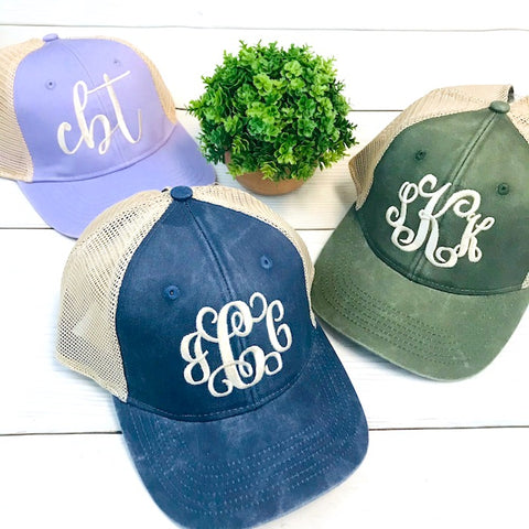 Embellish Pigment Wash Ponytail Ball Caps | Monogrammed