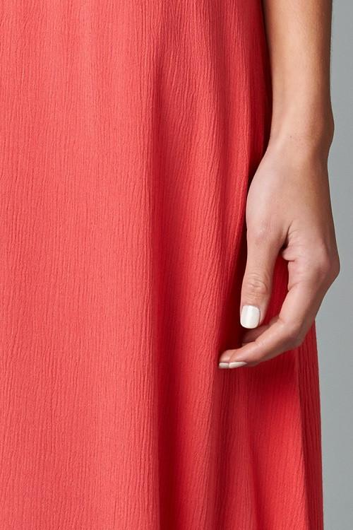 Embellish Coral Midi Ruffle Maxi Dress