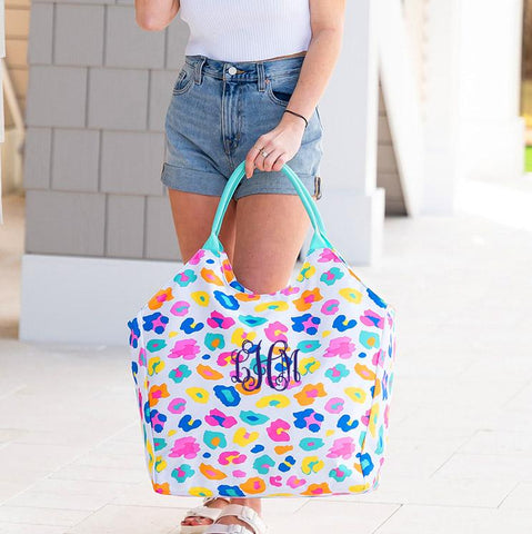 Embellish Oversize Bright Leopard Print Beach Tote | Monogrammed