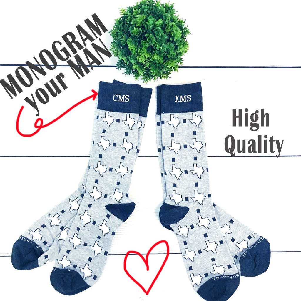 Embellish Everyday Texas Socks for Men | Monogrammed