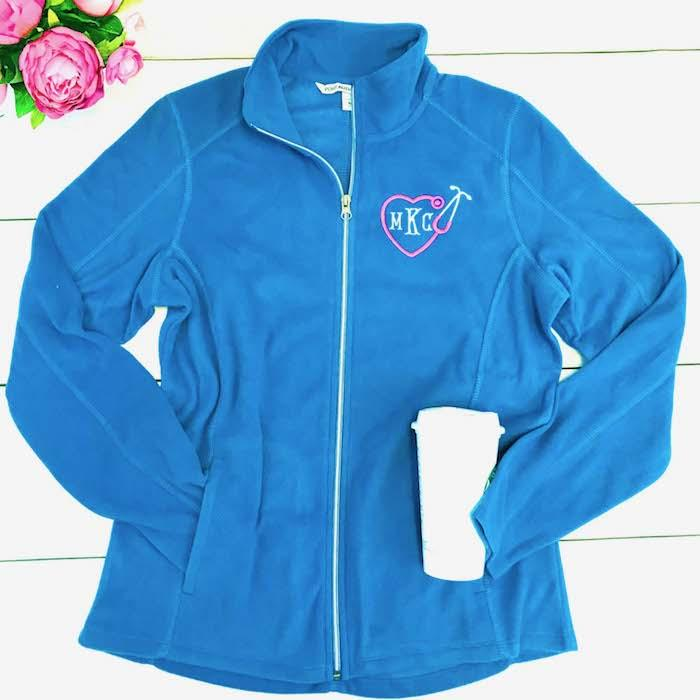 Embellish Personalized Monogram Stethoscope Nurse/Doctor Full Zip Light Weight Fleece Jacket
