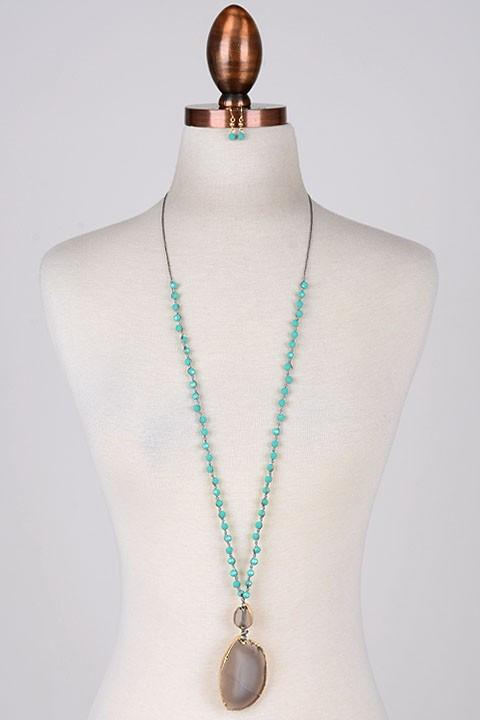 Embellish Turquoise Bead and Natural Stone Double Drop Necklace