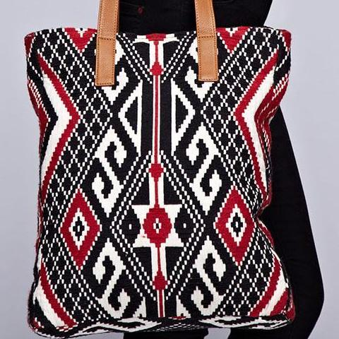 Aztec Tapestry Artisan Tote with Vegan Leather Handles