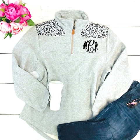 Embellish Soft Grey Quarter Zip Pullover with Leopard Print  | Monogrammed