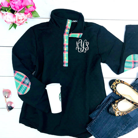 Embellish Quilted Navy Snap Front Pullover with Kelly Plaid | Monogrammed
