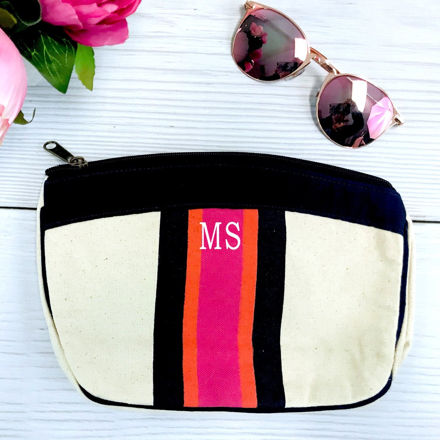 Embellish Preppy Stripe Accessory Bag | Monogrammed