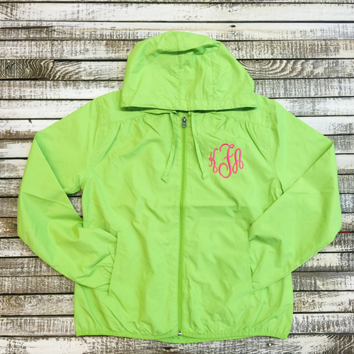 Ladies Monogrammed Hooded Rain Jacket in Six Colors
