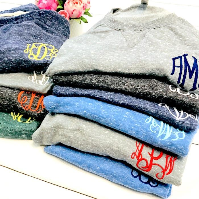 Embellish French Terry Snow Heather Pullover | Monogrammed