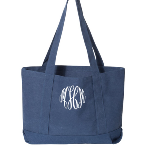 Embellish Pigment Dyed Cotton Canvas Tote | Monogrammed | QUICK SHIP
