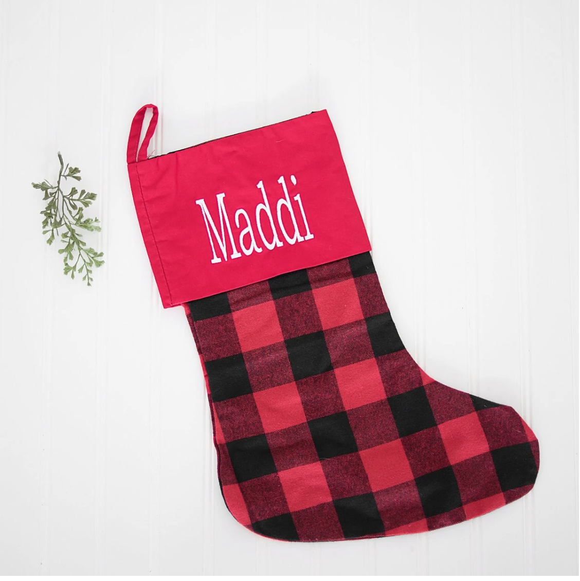 Embellish Classic Buffalo Plaid Holiday Stocking | Personalized