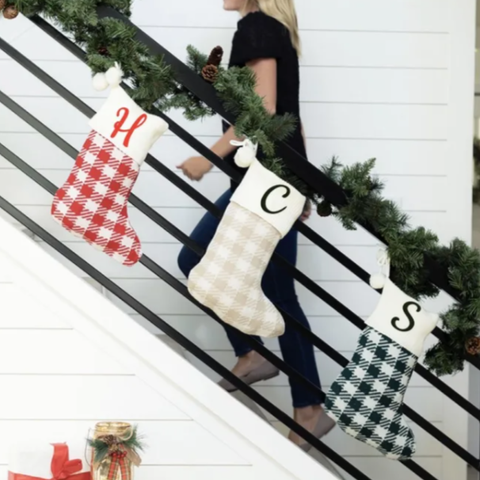 Embellish Knit Check Holiday Stocking with Pom Pom | Personalized