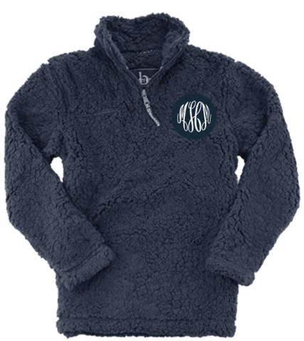 Embellish Super Soft Sherpa 1/4 Zip Pullover | Monogrammed | QUICK SHIP
