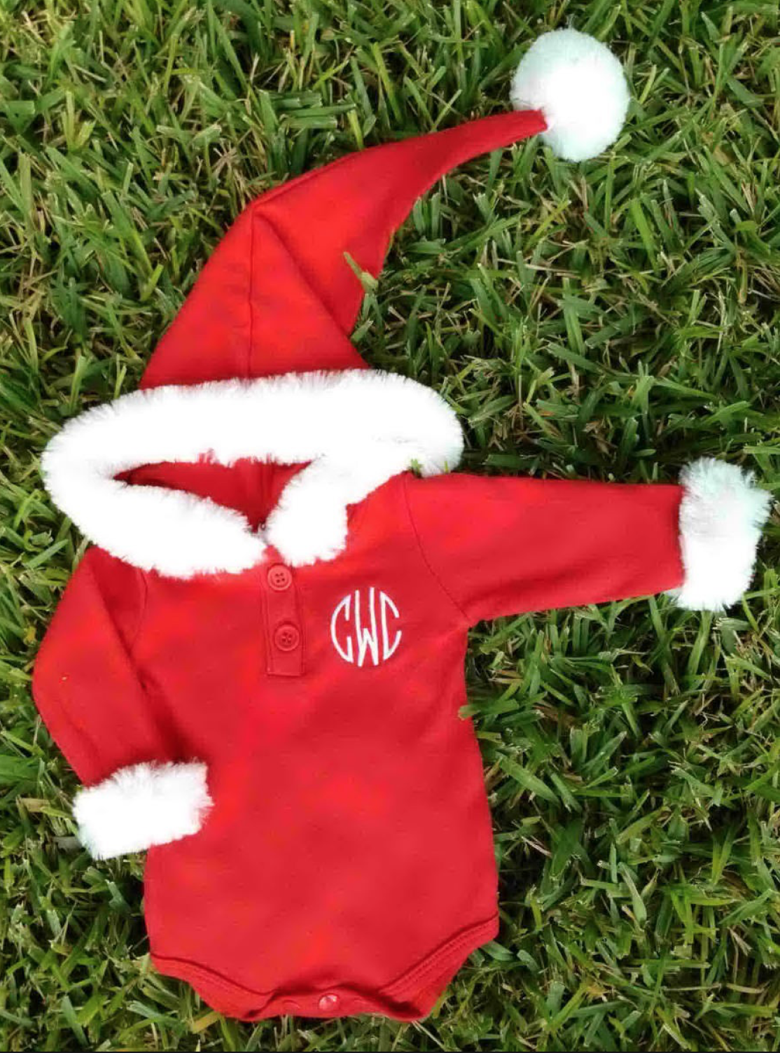 Baby Holiday Santa Onesie | Monogrammed | QUICK SHIP