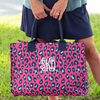 Embellish Bright PINK Leopard Print Carry All Tote | Monogrammed
