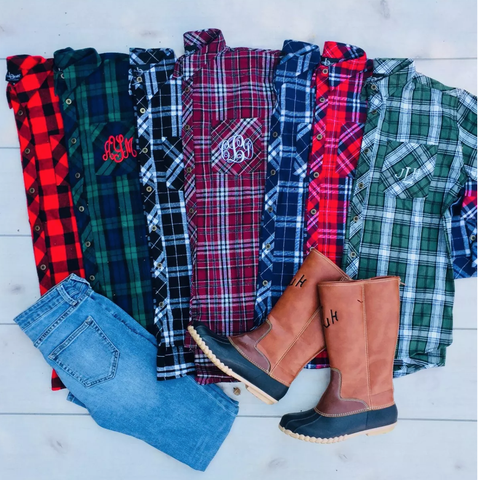 Embellish Perfect Plaid Monogram Button Down | Personalized