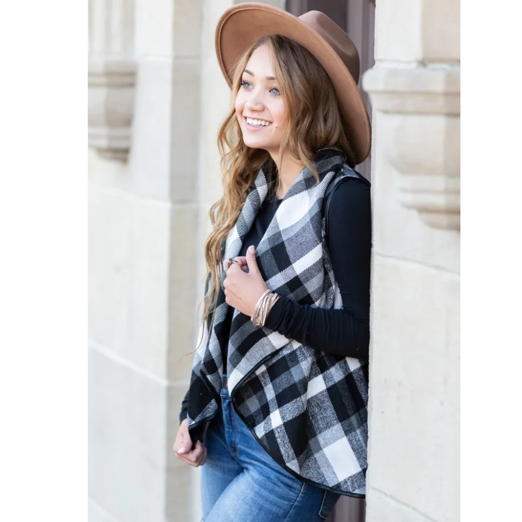Embellish Cozy Flannel Plaid Waterfall Vests