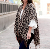 Embellish Stylish Monogram Knit Fringe Wrap | Classic Leopard