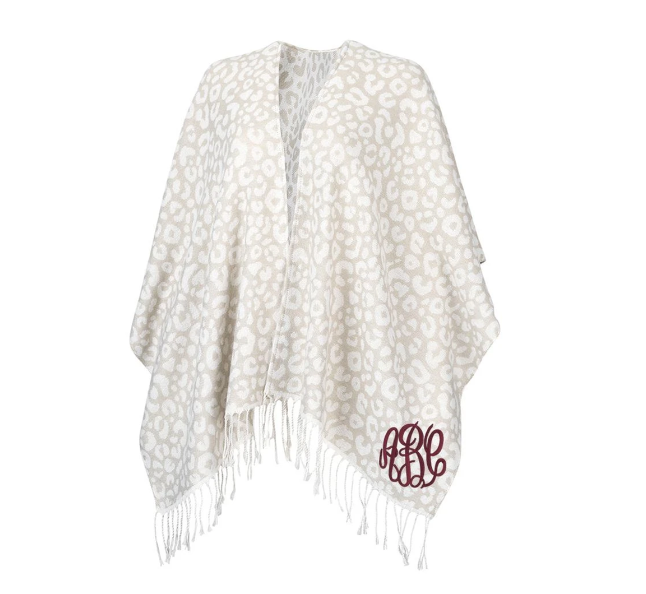 Embellish Stylish Monogram Knit Fringe Wrap | Snow Leopard